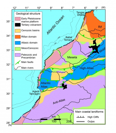 Fig. 1: Morocco: main coastal landforms and geological structure; location of the three studied examples.