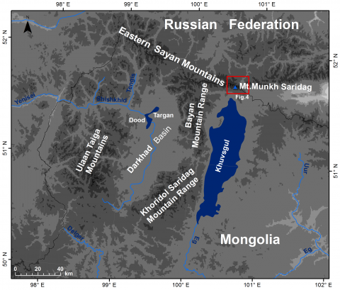 Fig. 2 – Topography of Khuvsgul Mountains including the study area framed by a box (Mt. Munkh Saridag is presented in Figures 5-6 in detail).Fig. 2 – Topographie des montagnes de Khuvsgul, incluant l'aire de la montagne de Munkh Saridag présentée dans les figures 5 et 6 (cadre rouge).