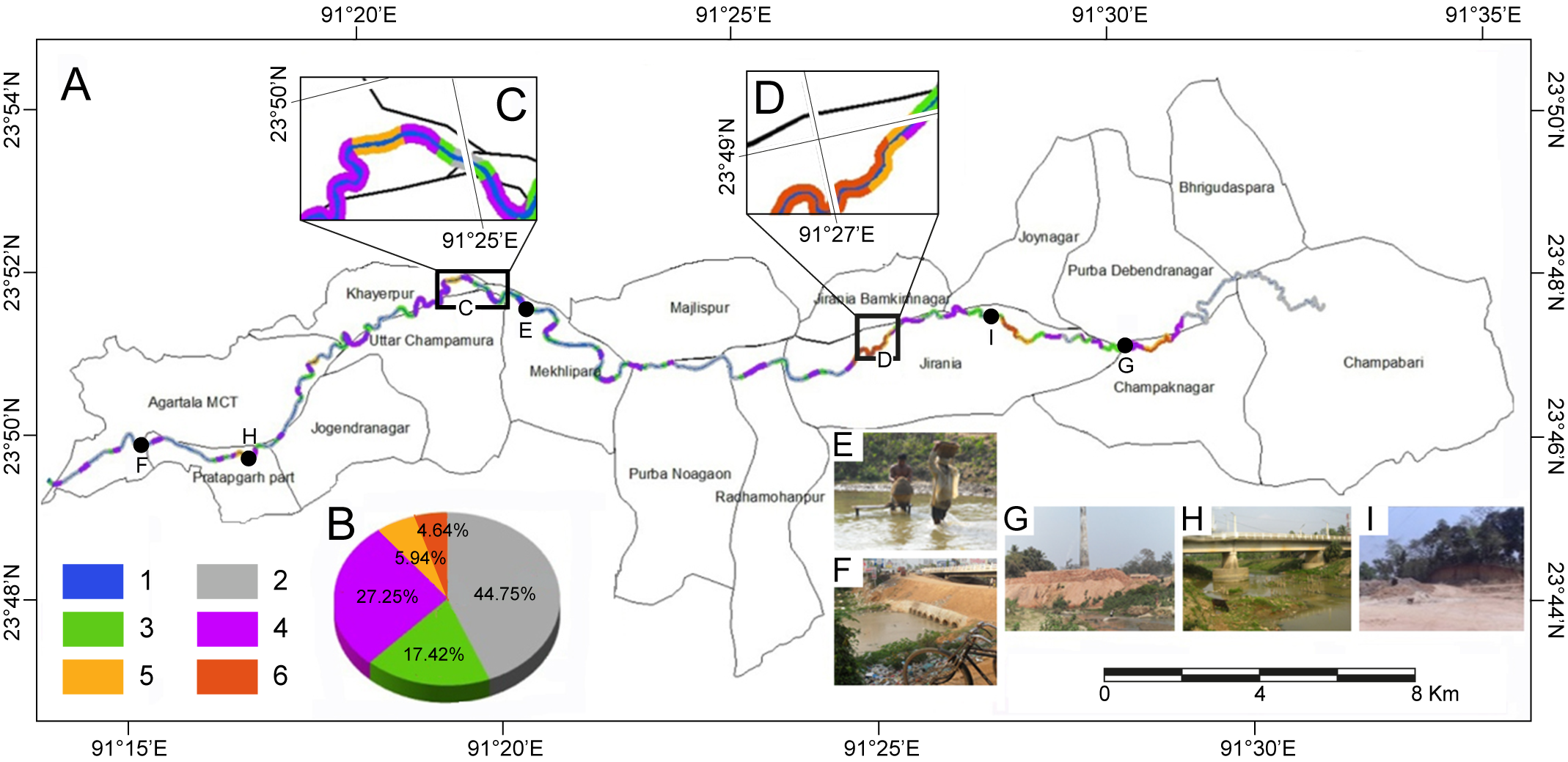 Carte De Linde Avec Region Tracees.Anthropogenic Impacts On The Morphology Of The Haora River