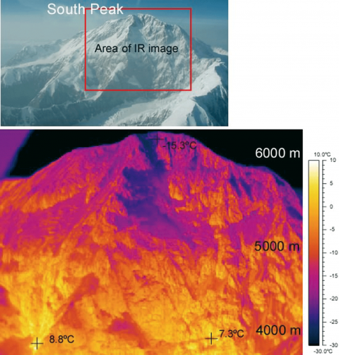 Fig. 4 – Thermtal IR image of south-facing wall of Denali, taken on 10 May 2005.Fig. 4 – Image IR thermique de la face sud du Mont Denali, prise le 10 mai 2005.