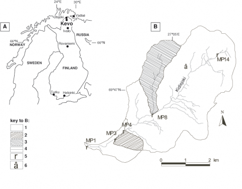 Fig. 1 – The Kidisjoki catchment (18 km2) and its location in Finnish Lapland (NE of Kevo). Fig. 1 – Le basin versant de Kidisjoki (18 km2) et sa localisation en Laponie Finlandaise (NE de Kevo).