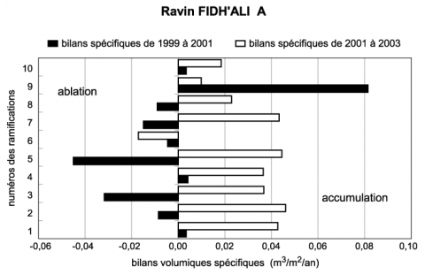 Fig. 10 – Bilans volumiques spécifiques sur les dix ramifications du ravin Fidh-Ali A de 1999 à 2001 et de 2001 à 2003.Fig. 10 – Specific volumetric budgets in the ten tributary gullies of the A Fidh-Ali gully at the end of the 1999-2001 and 2001-2003 periods, respectively.