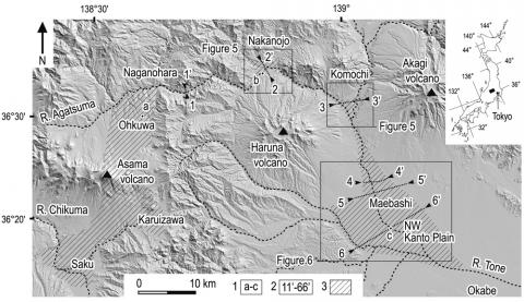 Fig. 1 – Shaded relief map of the region of the study area showing the distribution of deposits derived from the sector collapse of Asama volcano (modified after Yoshida and Sugai, 2007).Fig. 1 – Carte en relief de la région étudiée montrant la distribution des débris provenant de l'effondrement de flanc du volcan Asama (modifiée d'après Yoshida et Sugai, 2007).