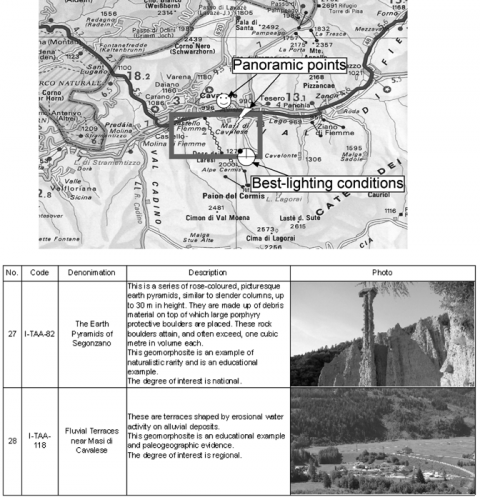 Fig. 3 – Excerpt from the paper map for non specialists of the Trento Region (Avanzini et al., 2005) and its legend. Fig. 3 – Extrait de la carte de la Région du Trentin, pour non spécialistes (Avanzini et al., 2005).