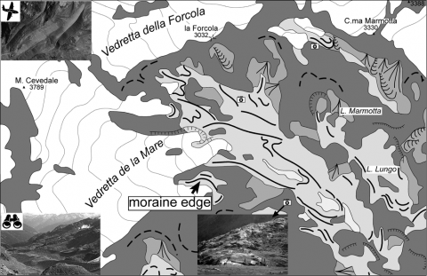 "Fig. 6 – Example of large-scale digital map of the ""Ghiacciaio di La Mare"" geomorphosite. Fig. 6 – Exemple de carte numérique à grande échelle du géomorphosite « Glacier de La Mare »."
