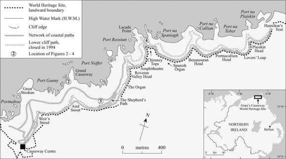 Map Of Ireland Giants Causeway.Management Challenges At A Complex Geosite The Giant S Causeway