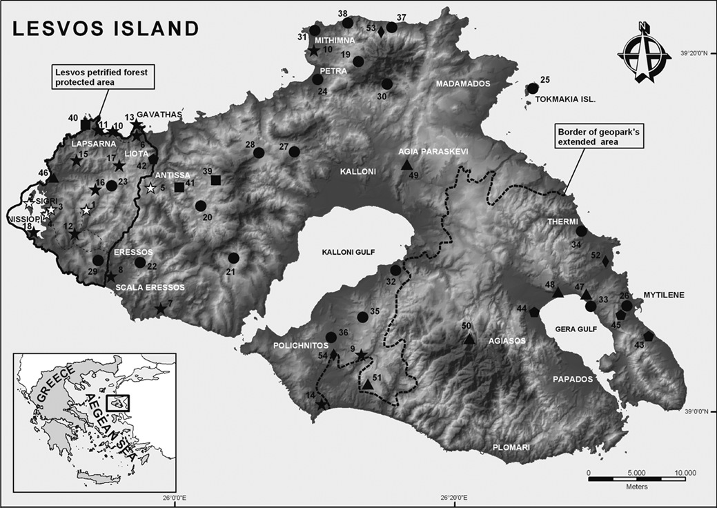 Lesbos topographic map