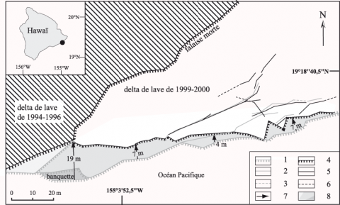 Fig. 6 – Recul de la partie occidentale du delta de lave de Lae'apuki entre le 17 juin 2001 et le 6 octobre 2002. Fig. 6 – Retreat of the western part of the lava delta of Lae'apuki between June 17, 2001 and October 6, 2002.