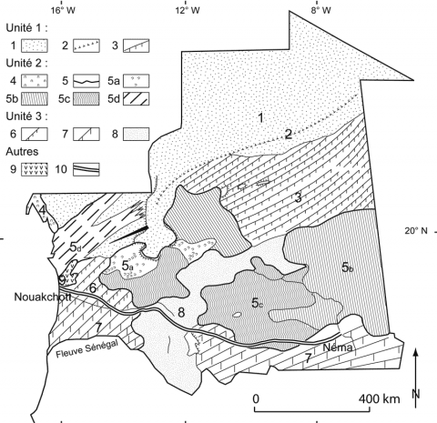 Fig. 3 – Unités morphodynamiques éoliennes en Mauritanie. Fig. 3 – Aeolian morphodynamic units in Mauritania.