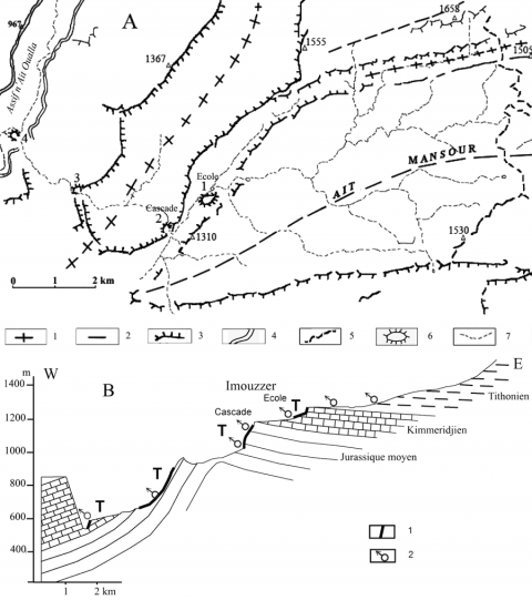 Fig. 2 – Cadre géologique des travertins d'Imouzzer et profil du cours d'eau.Fig. 2 – Geological frame of the Imouzzer travertines and river profile.