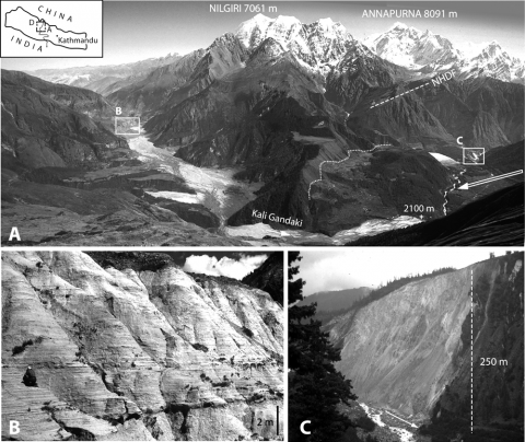 Fig. 2 – The Dhampu-Chooya Rock-avalanche, viewed from the east slope (4800 m) of the Dhaulagiri Peak (8167 m). Fig. 2 – L'avalanche rocheuse de Dhampu-Chooya, vue depuis le flanc est (4800 m) du Dhaulagiri (8167 m).