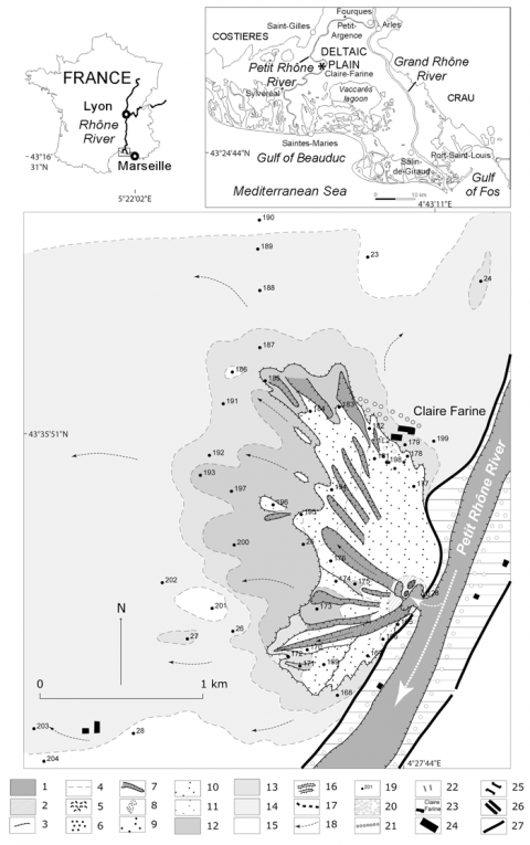 Fig. 4 – High-resolution map of the December 2003 crevasse splay of Claire Farine (western part of the Rhône Delta, right bank of the Petit Rhône River). Fig. 4 – Cartographie haute résolution du delta de rupture de levée (DRL) de Claire Farine (partie occidentale de la plaine deltaïque rhodanienne, rive droite du Petit Rhône) lors de la crue de décembre 2003.