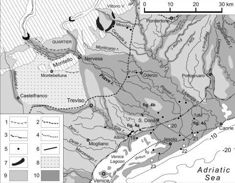 Fig. 3 – Age of the alluvial surfaces in the Venetian-Friulian Plain.Fig. 3 – Ages des surfaces alluviales de la plaine vénitienne-frioulane.