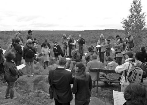 "Fig. 1 – Some participants in the ""Geomorphosites 2009"" Conference during the field trip through the Fontainebleau forest (courtesy of M. Calvet)."