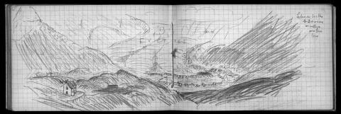 Fig. 2 – The Évettes glacier in July 1909, drawn by French geographer Emmanuel de Martonne. Sketchbook 10, 26, Library of the Paris Geographical Institute. Compare with fig. 1B in M. Moreau's paper, this issue.