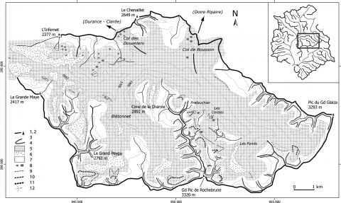 Fig. 10 – Cartographie des héritages glaciaires en Cerveyrette. Fig. 10 – Map of features from past glaciations in the Cerveyrette valley.