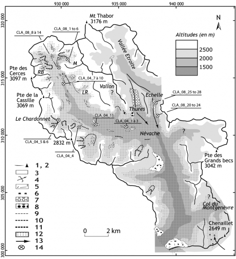 Fig. 6 – Cartographie des héritages glaciaires en Clarée. Fig. 6 – Map of features from past-glaciations in the Clarée valley.