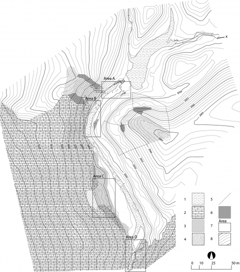 Fig. 6 – Topographic map of the Sad-i Didegan dam remains. Fig. 6 – Carte topographique de l'état actuel du barrage de Sad-i Didegan.