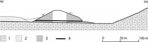 Fig. 9 – Cross-section of the Sad-i Didegan dam. Fig. 9 – Profil transversal du barrage de Sad-i Didegan.