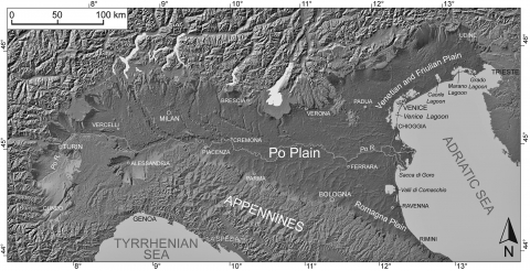 Fig. 1 – Digital Elevation Model (DEM) of Italy derived by the SRTM (Shuttle Radar Topographic Mission) with location of the main alluvial plains