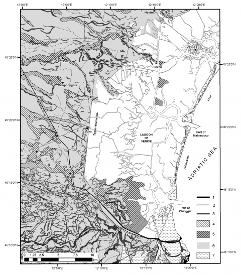 Fig. 2 – Geomorphological sketch map of the distal sector of the Brenta PlainFig. 2 – Croquis géomorphologique du secteur distal de la plaine du Brenta