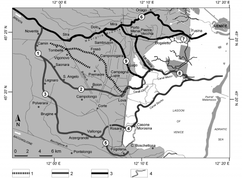 Fig. 4 – The fluvial and lagoonal flow direction of the Brenta from pre-Roman antiquity to Middle AgesFig. 4 – Direction des écoulements fluviaux et lagunaires du Brenta de l'antiquité pré-romaine au Moyen Âge
