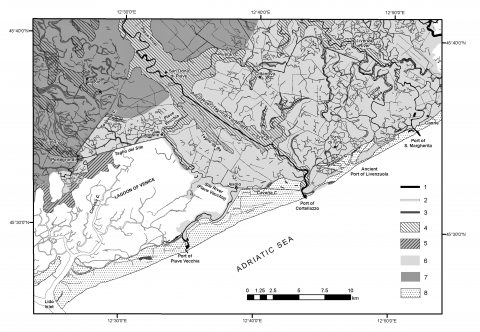 Fig. 6 – Geomorphological sketch map of the Piave coastal plainFig. 6 – Croquis géomorphologique de la plaine côtière de la Piave