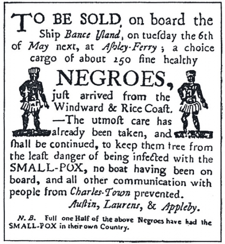 Poster advertising a slave's auction ca 1763