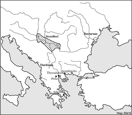 coins of the macedonian kingdom in the interior of balkans Jutland Peninsula map 1 territory of the scordisci