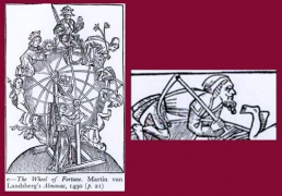 Fig.22. La Roue de la Fortune, in Martin van Landsberg, Almanach, 1490, et détail (in E. Zafran, « Saturn and the Jews »…, pl. 6).