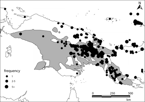 Figure 14. – Map showing the main clusters of mortars and pestles and the Trans New Guinea language family (shaded area)