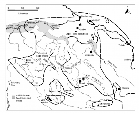 Figure 2a. – The mid-Holocene Sepik-Ramu inland sea