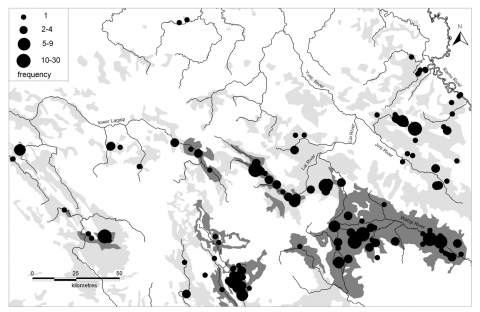 Figure 5. – Distribution of mortars and pestles in relation to cultivated land