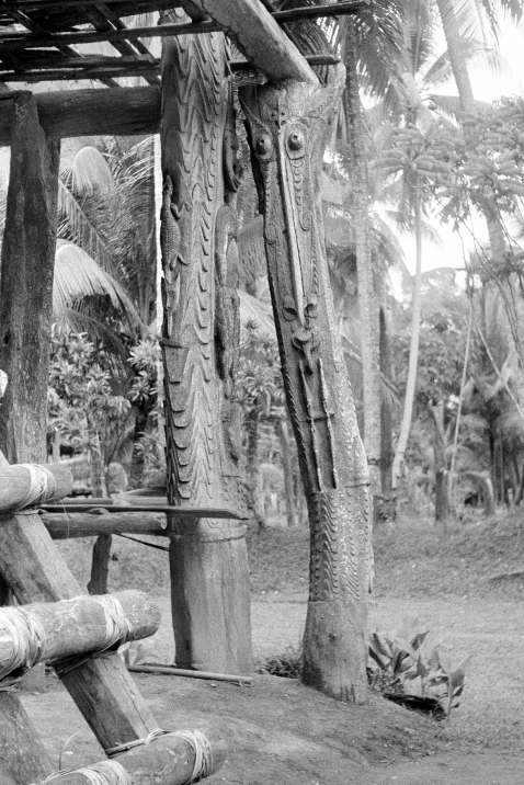 Photo 5. – b. Corner post for platform of Wolimbit ceremonial house, Kanganamun village