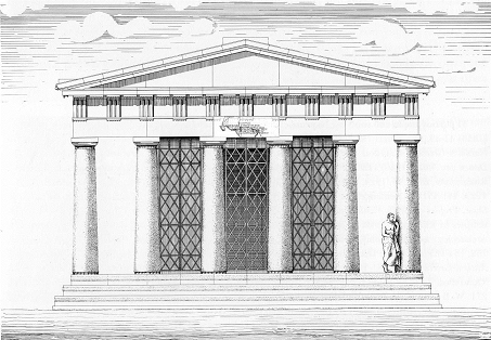 Fig. 2. Reconstruction of the east façade of the temple of Nemesis at Rhamnous
