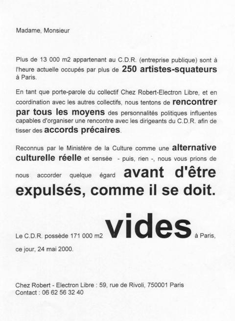 Revendications Des Squats D Artistes Et Institutions