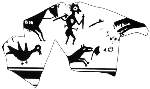 Fig.12. — Fragmento cerámico con guerrero y lobo, Cerro de San Miguel de Liria, Museu de Prehistòria i de les Cultures de València
