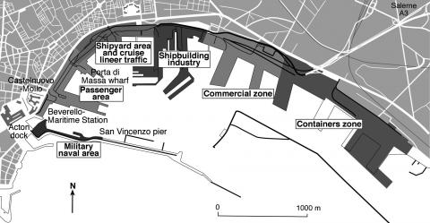 Fig.4 - Naples. Subdivision of the today waterfront.