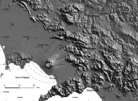 Fig.1 - The Campanian plain showing Vesuvius, the Afragola Bronze Age village and the distribution of Pomici di Avellino deposits.