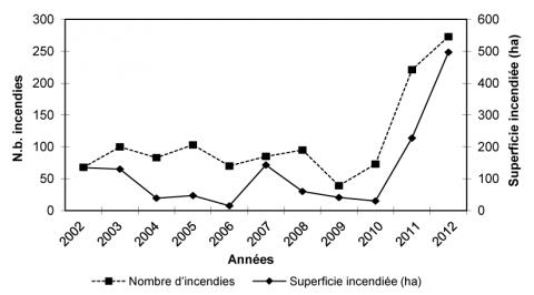 Fig. 3 - Évolution des incendies de forêts dans le gouvernorat de Jedouba (Nord-Ouest tunisien) de 2002 à 2012