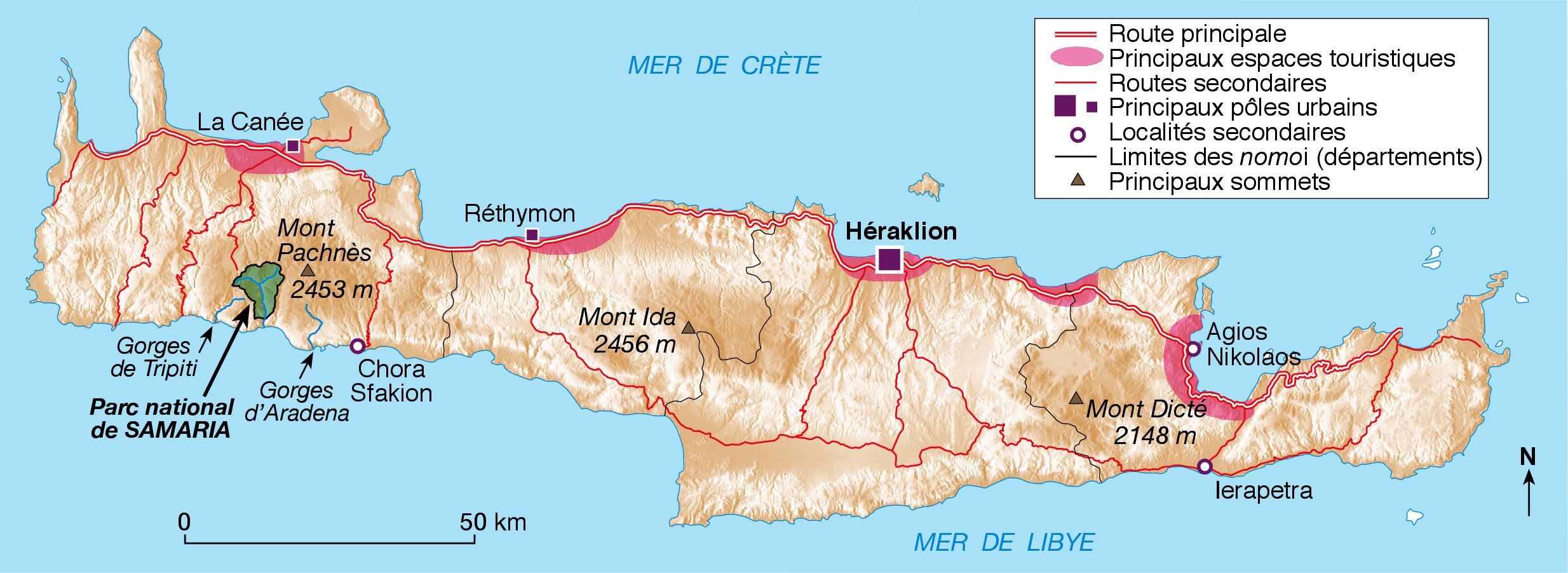 Carte Topographique Crete.Le Parc National De Samaria Montagnes Blanches Crete
