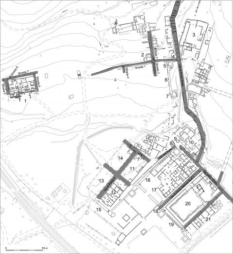 Fig. 3 - Elea-Velia. Planimetria dei Quartieri meridionale ed occidentale.