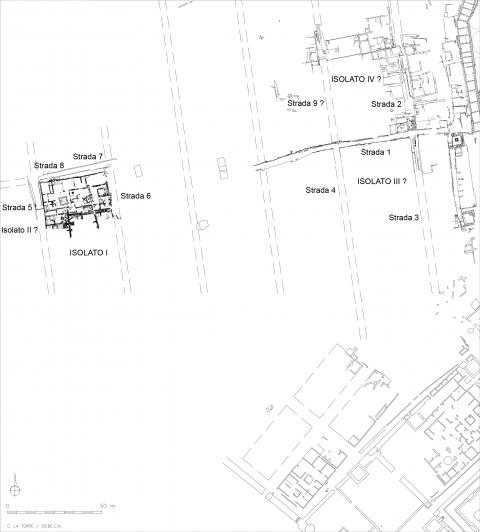 Fig. 8 - Elea-Velia. Quartiere occidentale. Ipotesi ricostruttiva dell'impianto.