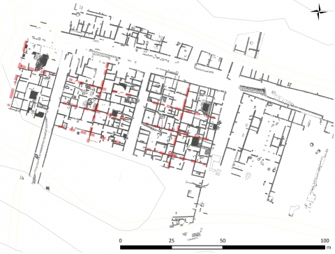 Fig. 2 – Hypothetical reconstruction of equal-sized house plots in Heraclea, Area A (based on Giardino 1998).