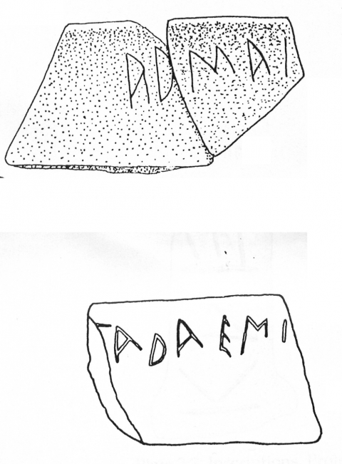 Fig. 7 - Graffito on black-glaze cup fragments from Kommos, Crete. Seventh century. After Csapo - Johnston - Geagan, 2000.