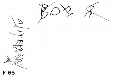 Fig. 8 - Three graffiti on a Thasian wine amphora from the Athenian Agora (P15347), Alan Johnston2013-04-30T11:16:00c.520-480. After Lang 1976, pl. 13, F65.