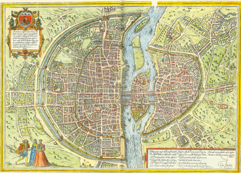 Fig. 5 - Plan de Paris de Braun-Hogenberg (1572).