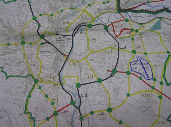 Projets d'autoroutes et voies rapides lyonnaise en 1975