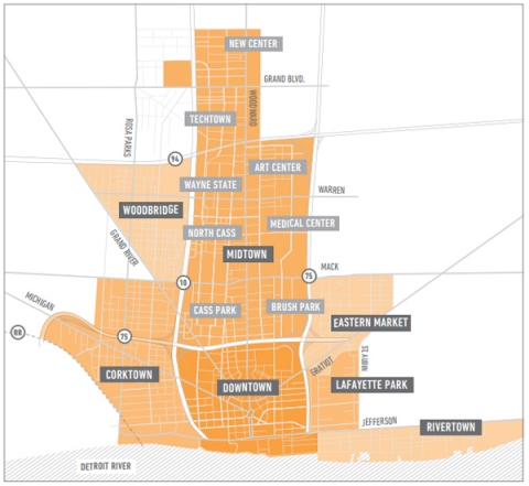 Figure 2. La zone privilégiée de la rénovation urbaine (Greater Downtown Area).