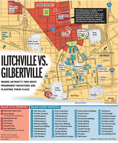 Figure 3. La répartition des acquisitions de Dan Gilbert et de la famille Ilitch dans le downtown et à Midtown.